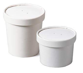 Одноразовые бумажные пищевые стаканы для супа и еды на вынос