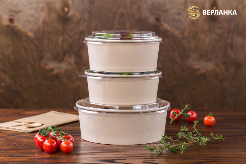 Paper disposable food containers with lids