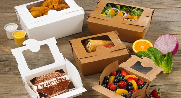 Бумажные контейнеры крафт для еды с окошком, бумажные ланч-боксы для еды