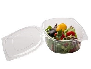 Disposable hinged lid deli containers for salads