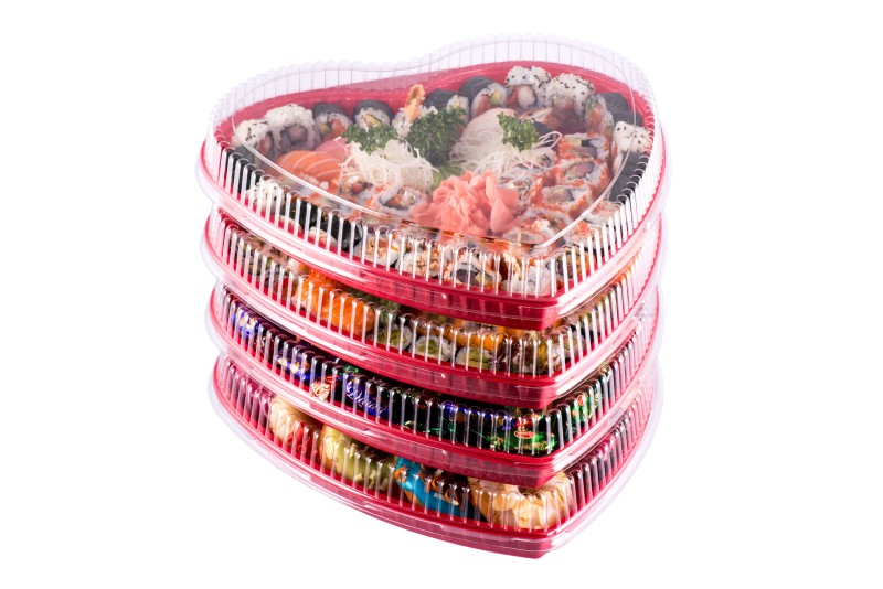 Valentine's Day heart shape take out packaging and sushi party platters