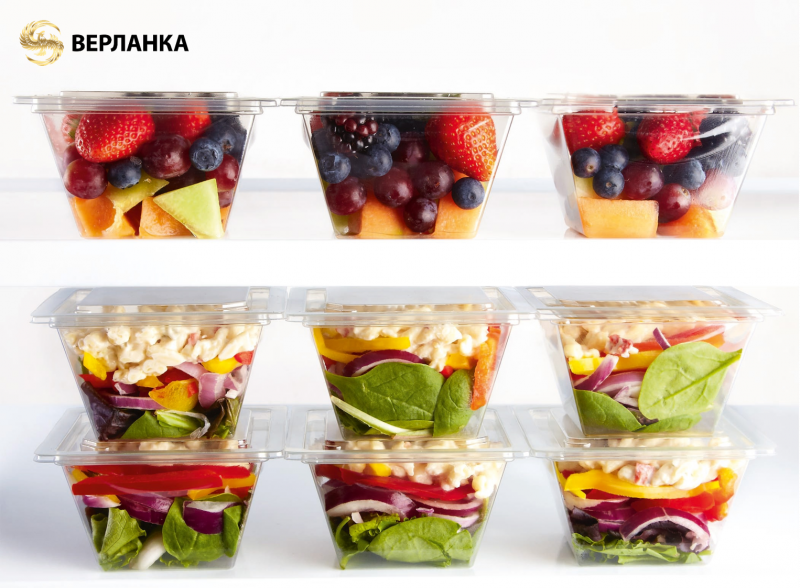 Disposable rPET containers To Go for gastronomy and culinary