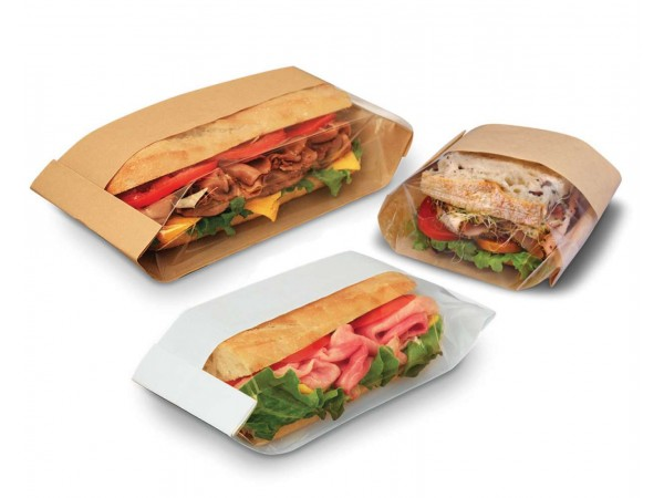 Paper bags with window for bakeries and culinary, gastronomy for burgers and sandwiches